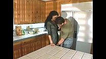 Bokep Sexy brunette MILF getsn her hairy pussy fucked by big dick and blonde girlfriend watches them at the kitchen