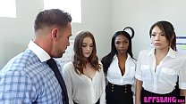 Bokep Three young coworkers fucked by their chief in the office