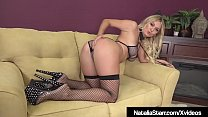 Horny Babe Natalia Starr takes out her whip while wearing a smoking hot fishnet bikini & stockings, & masturbates her tight twat until she cums!