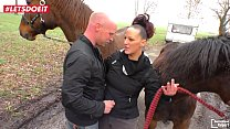 German Mature Woman Fucks and Sucks a guy in the Stable - LETSDOEIT.COM -