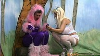 Kinky stud in a costume has some naughty fun with a blonde