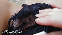 Bokep 4K masturbate in black lace panty and make it very wet with my cum
