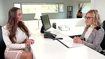 Squirting in the office - hot lesbian 3some