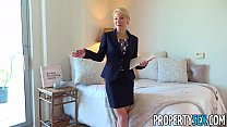 Hot blonde MILF realty agent makes dirty sex video in condo