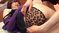 Asian babe fingered and stripped