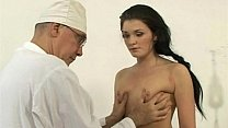 a cute Russian brunette with small tits on gyno exam