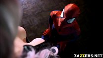 Spidey bangs Black Cats wide spread shaved pussy
