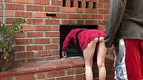 MILF stuck in the fireplace offers sex to get free