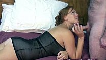 Redhead Mariah in a black dress and taking some dick
