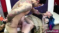 Bokep Busty tattooed babe seduces the guy to bang her pussy.The guy goes to her and lets her throat his bigcock and in return the fucks her wet pussy doggy style.After that,she sucks again guys cock.Finally,the guy fucks her pussy until he cums on her.