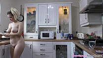 Stunning ass and big natural tits blonde babe preparing herself some coffee in the morning, all naked in the kitchen.