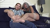 Milf Gives Redhead Foot Job with Stockings PREVIEW