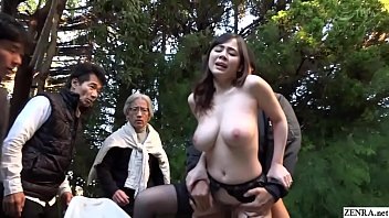 Cheating Japanese wife in garter belt and nothing else has brazen outdoor sex in a garden while passersby watch starring pale and busty JAV star Aimi Yoshikawa in HD with English subtitles