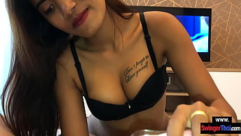Young Asian girlfriend knows how he likes to be jerked