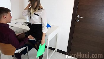 XXX Secretary Sucking my Huge Cock and Cum in Mouth - sex at work
