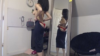 Bokep Young Goth Narcissist in the Mirror Changing Dresses and Panties