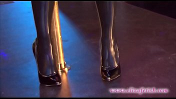 Bokep Latex stockings clad blonde in 6 inch stiletto high heels
