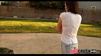 Young Brunette Step Daughter Sucks Daddy's Big Cock POV