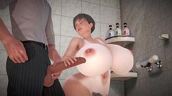 Gandma with enormous tits has sex with her grandson in the bathroom