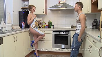 Bokep Goddess looking Russian beauty having fun experimenting on the kitchen naked