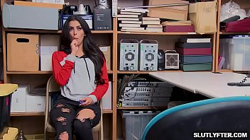 XXX Down goes the shoplyfter Sophie Leone sucking a big cock deep down her filthy throat!