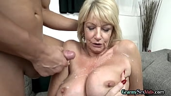 Lusty granny plowed with cock before jizz over boobs