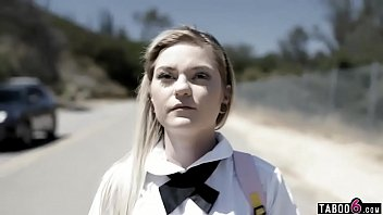 Dirty teen on her way home from school anal with a stranger