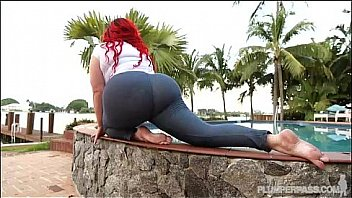 PAWG redhead gets it outdoors after yoga streching