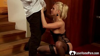 Inviting him into her bedroom with her stockings on lead to hardcore fucking.