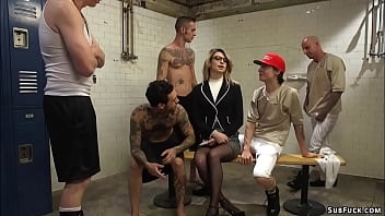 Football players took sexy blonde journalist Aspen Ora in dirty locker room and stuffed her mouth with huge cocks then gangbang and double penetration fucked her