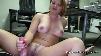 This amazing blonde milf with big tits and slutty face goes on her knees and gives the best handjob to this lucky dude in pov style.