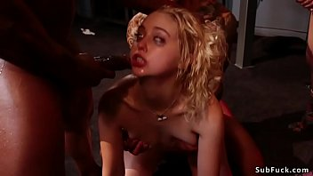 Submissive blonde slut Chloe Cherry masturbates alone when five dudes entering bdsm room and then anal interracial gangbang fuck her
