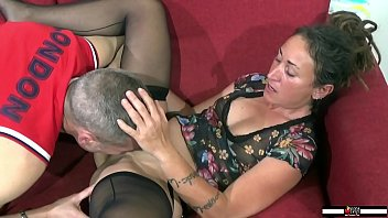 Great slut in fishnet stockings and hairy pussy sucks and fucks