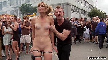 Deep throat blonde slave Mona Wales is tormented and fucked with huge dicks in group in men rest room then outdoor humiliated and public disgraced