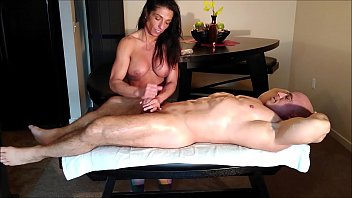 Alexis massages me with oil and jerks me off until I cum