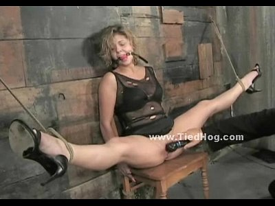 Blonde tied on chair in dirty barn bdsm  XNXXCOM