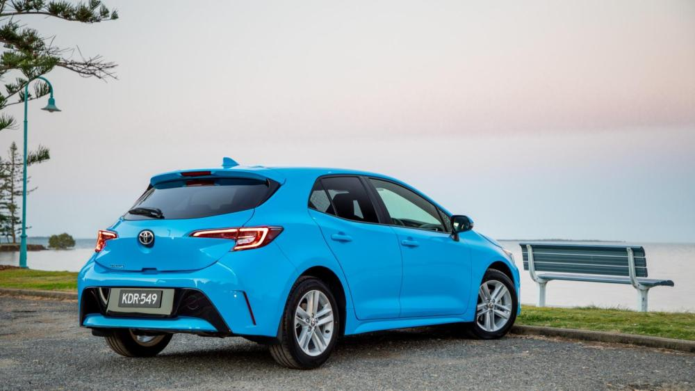 medium resolution of the new corolla hatch s rear aspect is dominated by the distinctive led tail light clusters note the sporty bumper and tailgate spoiler
