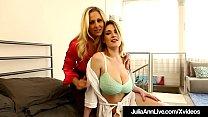 Smoking Hot Cougar Julia Ann meets the curvy big breasted Siri Pornstar & seduces her in bed, caressing & sucking on her enormous natural tits & finger fucking her beautiful tight twat to get Siri to cum for her!