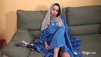 Egyptian brunette has a self-sex-session with rubber cocks