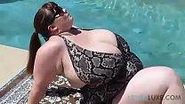lovely bbw poolside in Bikini shows off to next door neighbor