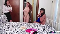 MA2 Busty stepmom Reagan Fox walked in on her friend Penny Pax fooling around with her stepteen Ella Knox.Penny thinks its a good idea if she joins.After Penny licks and is licked by them Ella sets her pussy on her stepmoms face and licks hers too