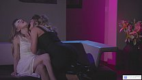 Experienced woman leads her new lesbian friend to a private room