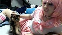 Lana Rain Pink cute pink school uniform masturbation FULL VID