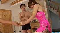 Staggering trio along sweet Rika Kurogawa