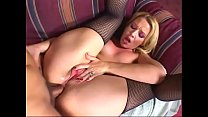 Hot blonde slut in stockings Olivia Saint fills her asshole by dick