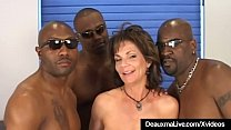 Anal Banging Cougar Deauxma is plowed in all her holes, ass, mouth & pussy by three huge black dicks that cum all over her face in this amateur interracial gang bang!