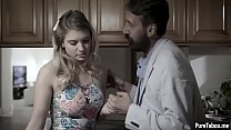 Pretty big tits girl got fucked in a kitchen close her father