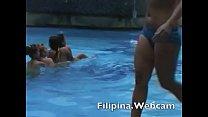 Filipina pool party girls in bikini dance and twerk