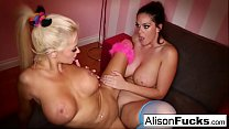 Blonde and brunette lesbian fun