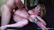 Assfucked milf gags while handling dong